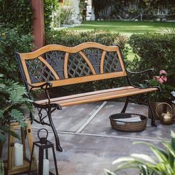 Outdoor Garden Bench Metal Curved Wooden Backyard Patio Park