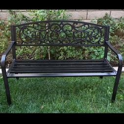 Outdoor Garden Bench Patio Furniture Deck Backyard Welcome C
