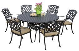 Outdoor Garden Solid Cast Aluminum 7pc Round Dining Set Seat