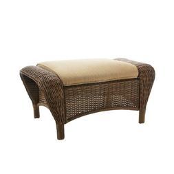 Hampton Bay Outdoor Ottoman Wicker Toffee Cushions Steel Fra