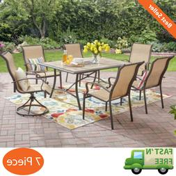 Outdoor Patio 7 Piece Table Dining Set Swivel Comfort Eating