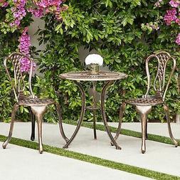 Outdoor Patio Furniture 3pcs Cast Aluminum Bistro Set Antiqu