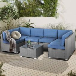 Suncrown Outdoor Patio Furniture 7-Piece Sofa Set Grey Wicke