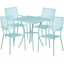 5 Piece Metal Outdoor Patio Furniture Sets Square Metal Tabl