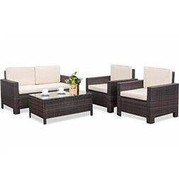 outdoor patio furniture set, 4pcs rattan wicker sofa garden
