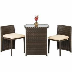 Outdoor Patio Furniture Wicker 3pc Bistro Set Glass Top Tabl