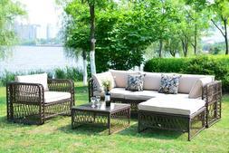 Outdoor Patio Furniture Wicker Rattan Sofa Sectional Cushion