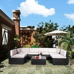 AECOJOY Outdoor Patio PE Rattan Wicker Sofa Cushioned Sectio