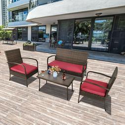 4 Pcs Sofa Patio Rattan Furniture Wicker Conversat Set Cushi