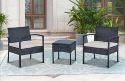 Outdoor Patio Wicker Chair Table  Patio Garden Furniture wit