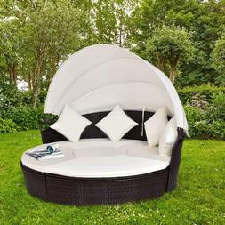 Outdoor Patio Wicker Rattan Round Retractable Canopy Daybed