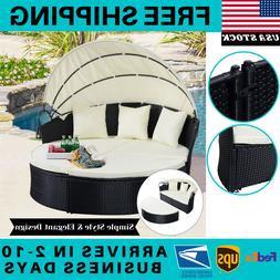 Outdoor Rattan Patio Sofa Furniture Round Retractable Canopy