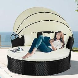 Outdoor Wicker Round Daybed with Canopy Cushioned Seats Pati