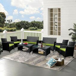 4PCS Outdoor Patio Rattan Wicker Table Shelf Sofa Furniture
