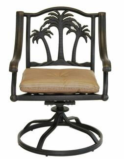 Palm Tree Outdoor Patio Dining Chairs Dark Bronze Color Cast
