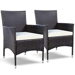 Tangkula 2 Pcs Patio Armchair Rattan Single Chair Set Outdoo