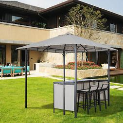 3PC Outdoor Patio Bar Table Set Chairs W/ Sunshade Canopy Ba