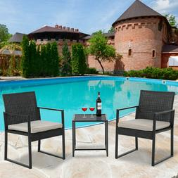 Patio Bistro Set 3 Pieces Outdoor Wicker Chair Patio Rattan