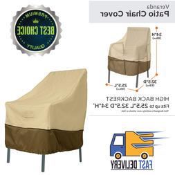 Veranda Collection Patio Chair Cover High Back, Pebble, Bark