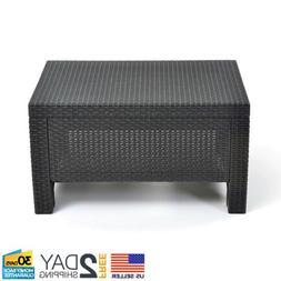 Patio Coffee Table Outdoor Wicker Porch Deck Furniture Weath