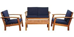 Amazonia 4-Pc Patio Conversation Set with Blue Cushions