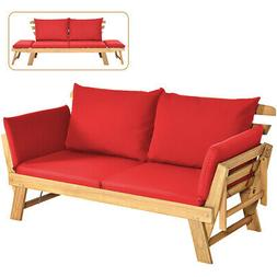 Patio Convertible Sofa Daybed Solid Wood Adjustable Furnitur