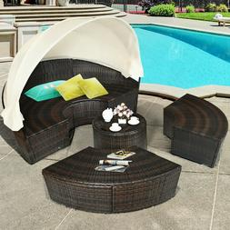 Patio Daybed Rattan Retractable Canopy Outdoor Furniture Set