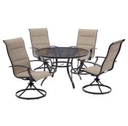 patio dining set 5pc steel woven garden
