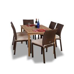 Amazonia 7-Pc Patio Dining Set in Brown Finish with Off-Whit