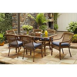 Patio Dining Set Hampton Bay Spring Haven Brown 7-Piece All-