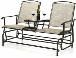 Patio Double Rocking 2-Person Outdoor Loveseat -Tan Furnitur