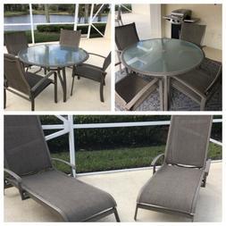 Sunbrella Patio Furniture • 10 Pieces: 2 Glass Top Tables/