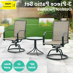 Patio Furniture 3 PCS Swivel Bar Sets Textilene Bistro Table