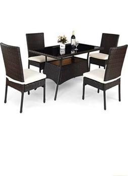 Tangkula Patio Furniture, 5 PCS All Weather Dining Set