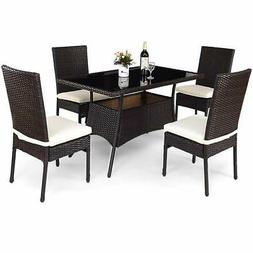 Tangkula Patio Furniture 5 PCS All Weather Resistant Heavy D