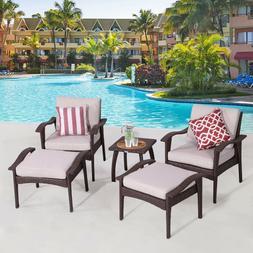 Diensday Patio Furniture 5-Pcs Beige Cushion Chair Set w/Ott