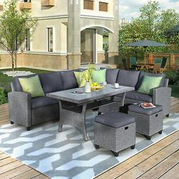 Patio Furniture 6PCS Outdoor Conversation Set Wicker Section