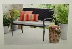 Patio Furniture Outdoor Bench in Brown Wicker, Steel Frame
