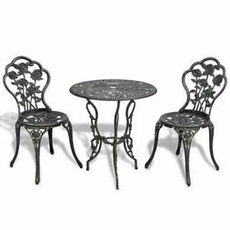 Patio Furniture Cast Aluminum Rose Design Bistro Set Antique