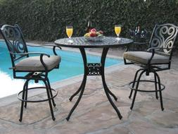 Outdoor Patio Furniture Cast Aluminum 3 Piece Bar Stool Tabl
