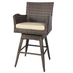 Outdoor Patio Furniture All-Weather Brown PE Wicker Swivel B