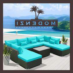 7pc Outdoor Patio Furniture Sectional Rattan Wicker Sofa Cha