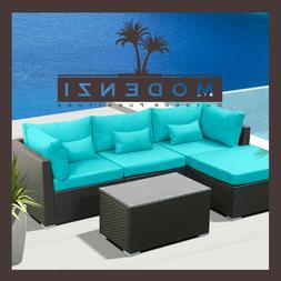 5pc Outdoor Patio Furniture Sectional Rattan Wicker Sofa Cha