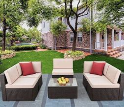 Patio Furniture Set 6 Pieces Outdoor Sectional Rattan Sofa A