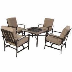 Goplus 5 PCS Patio Furniture Set Chair & Fire place Stove Fi