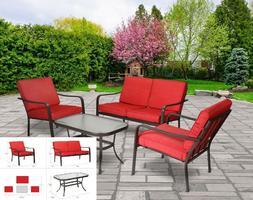 Patio Furniture Set Conversation 4 Piece Metal Weather Resis