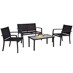 Tangkula Patio Furniture Set 4 PCS Black with 2 Chairs, Temp