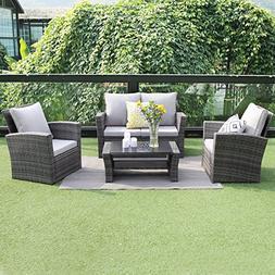 4 Piece Outdoor Patio Furniture Set,Wisteria Lane Garden Law