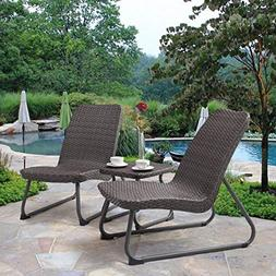 Tangkula Patio Furniture Set 3 Piece All Weather Outdoor Gar