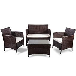 Merax 4 pcs Patio Furniture Set Outdoor Wicker Garden Furnit